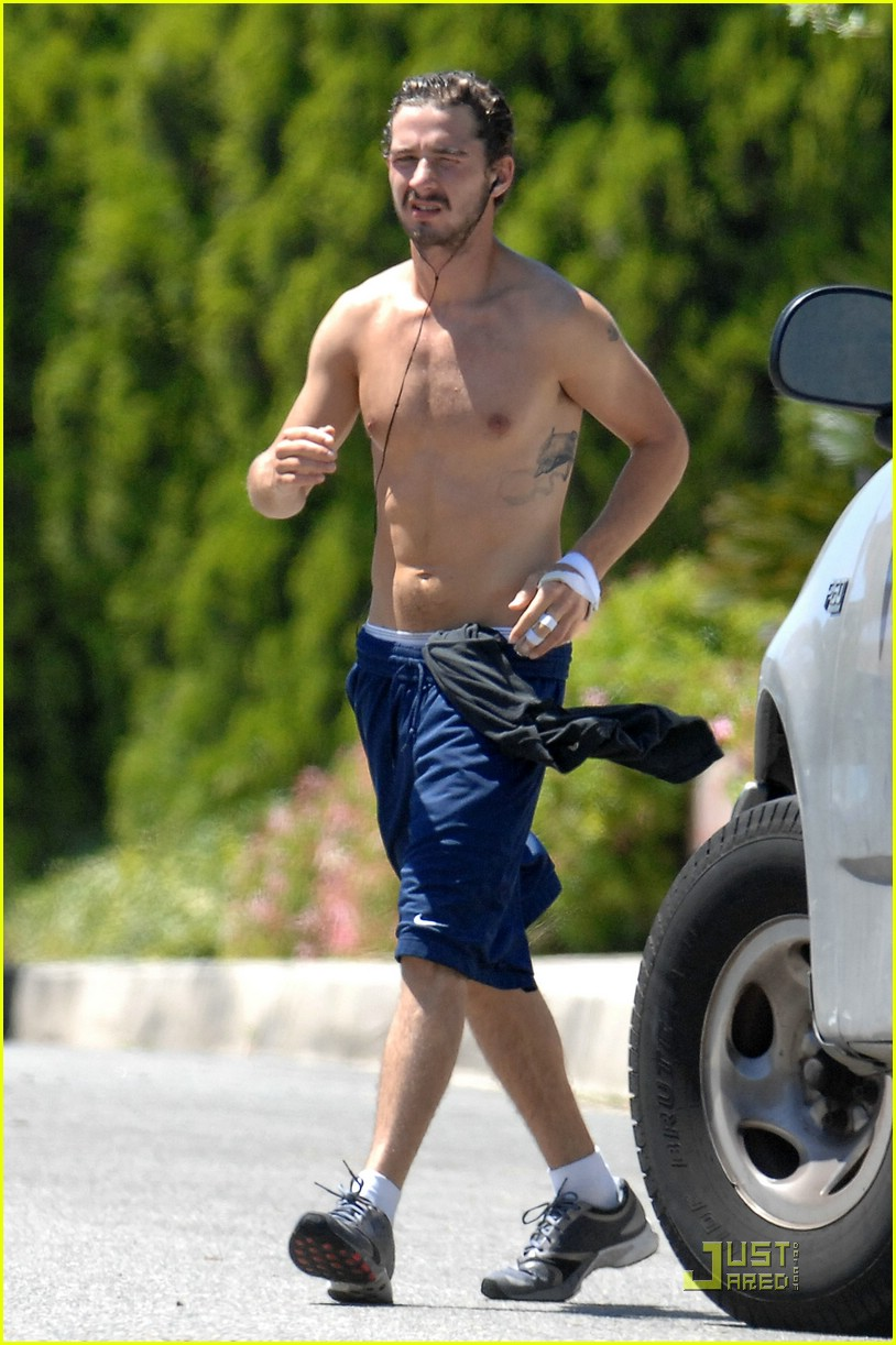 shia labeouf shirtless running 022053551