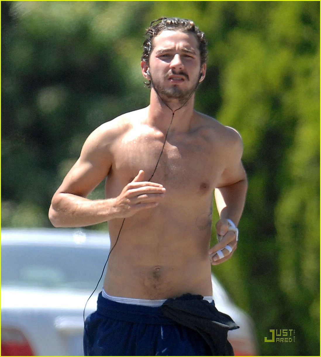 shia labeouf shirtless running 062053591