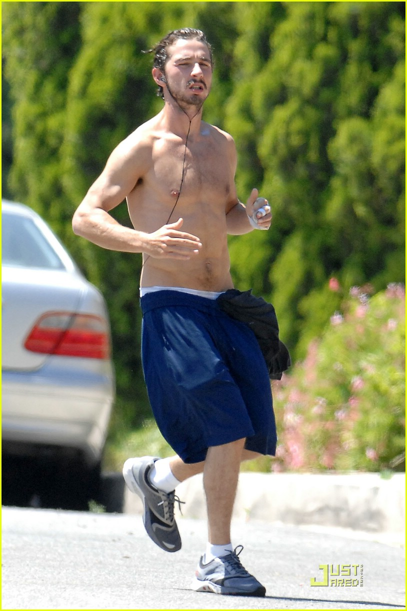 shia labeouf shirtless running 09