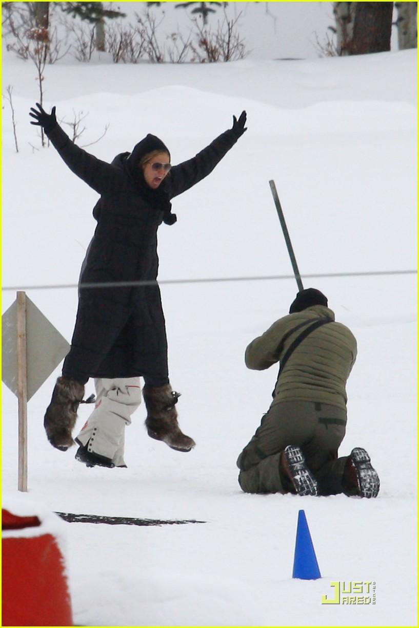 heidi klum seal snowboard lessons 01
