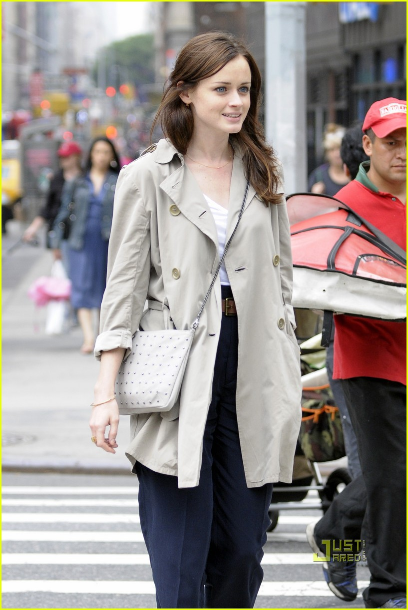 alexis bledel lunch friend nyc trenchcoat 092453453
