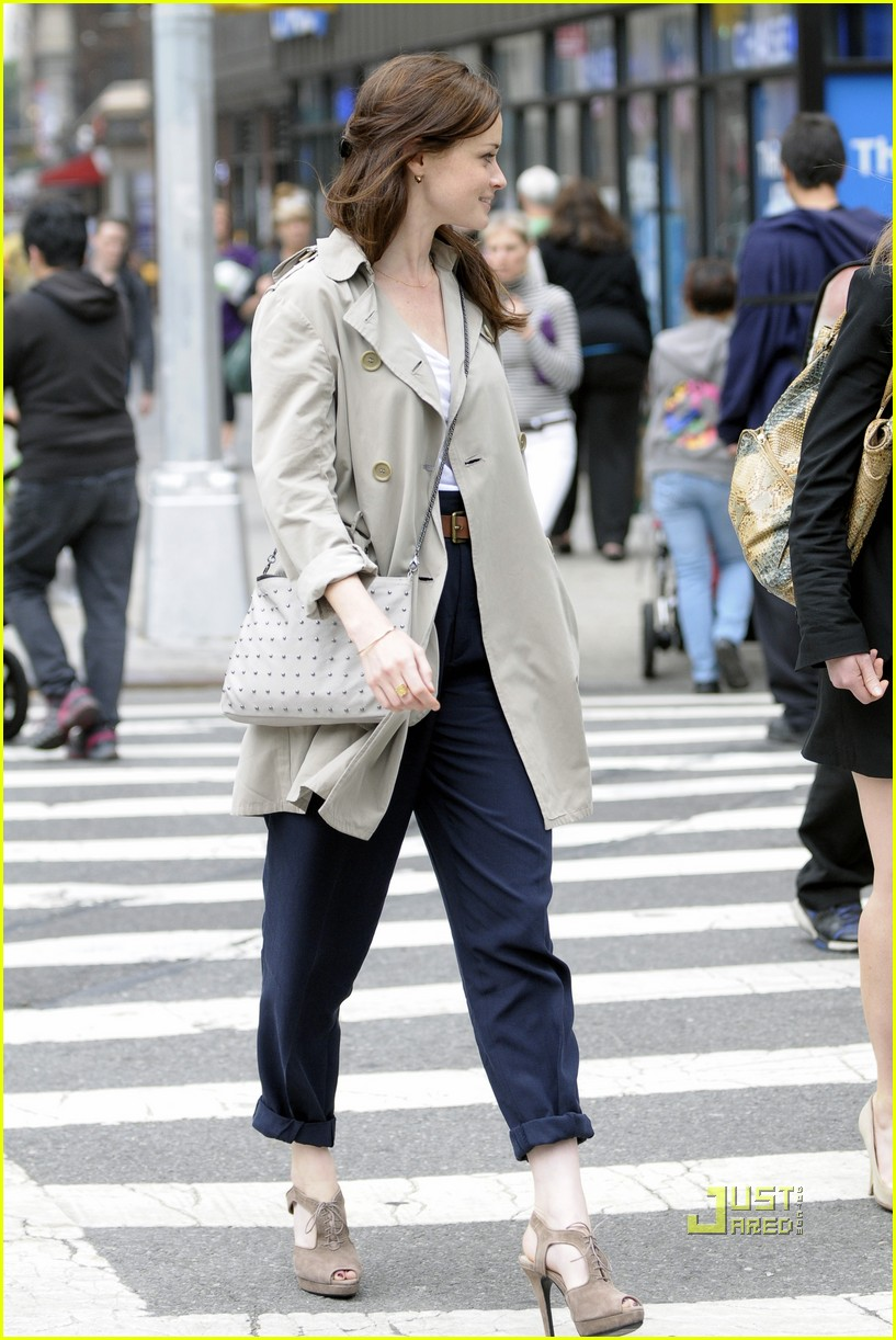 alexis bledel lunch friend nyc trenchcoat 102453454
