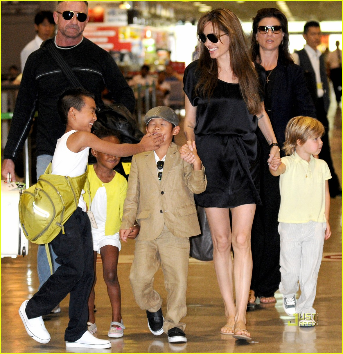 Angelina jolie japan s narita airport with the kids