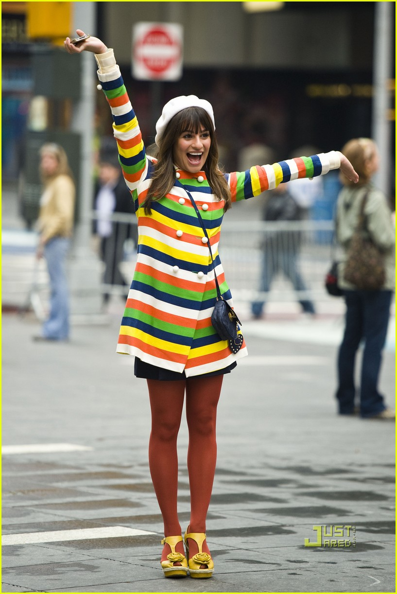 lea michele stripes nyc glee 01