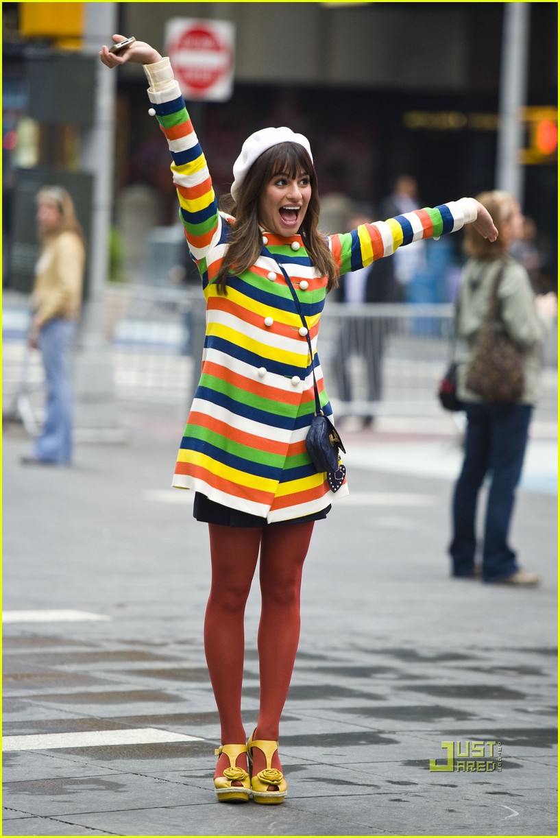 lea michele stripes nyc glee 02