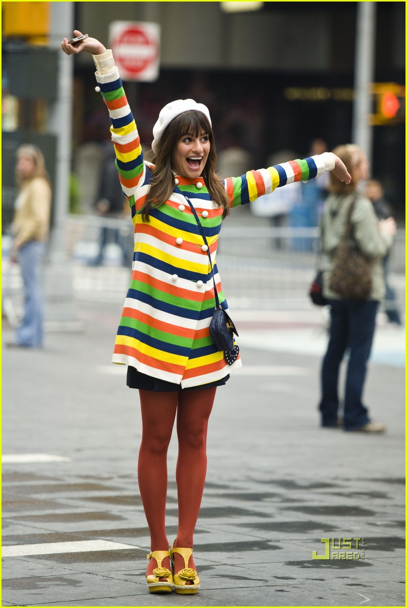 lea michele stripes nyc glee 042538132