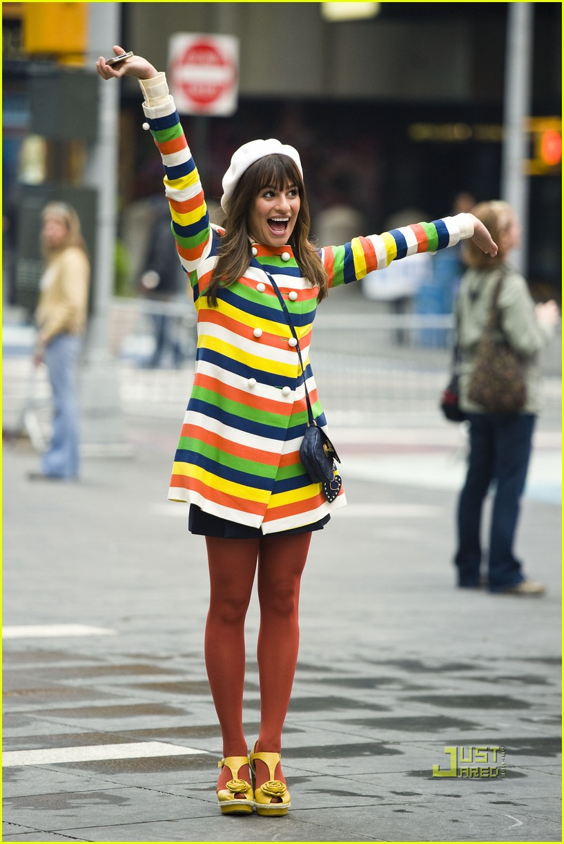 lea michele stripes nyc glee 05
