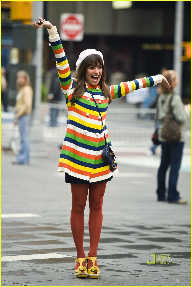 lea michele stripes nyc glee 06