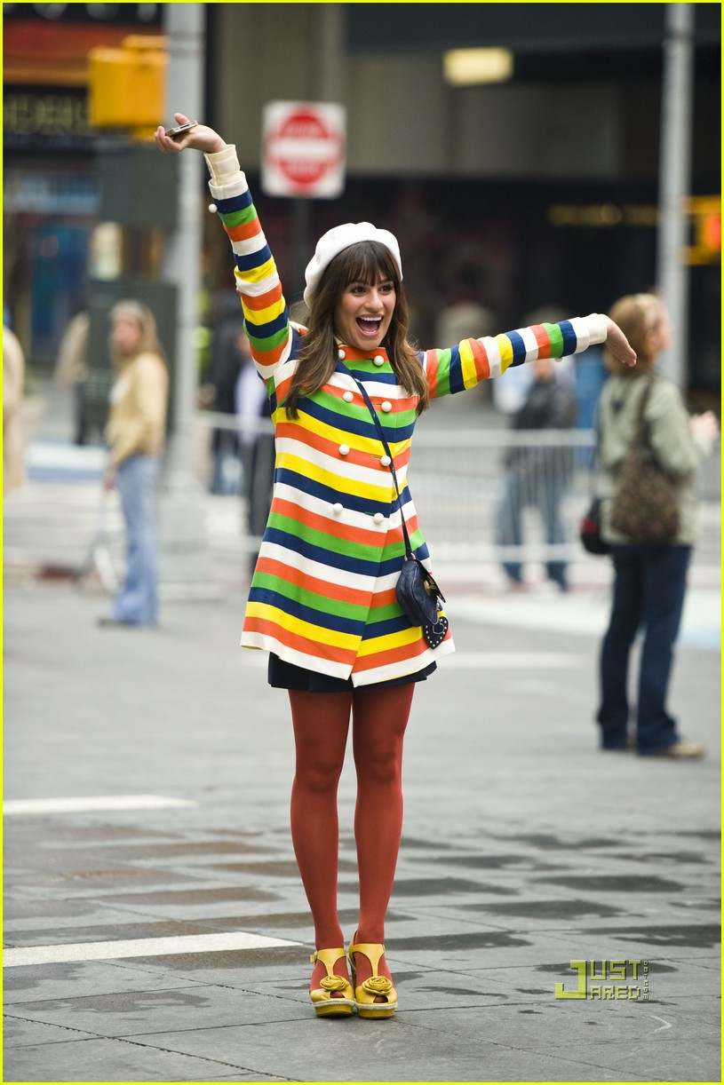lea michele stripes nyc glee 08