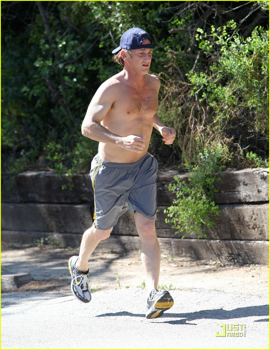 sean penn shirtless jogging 24