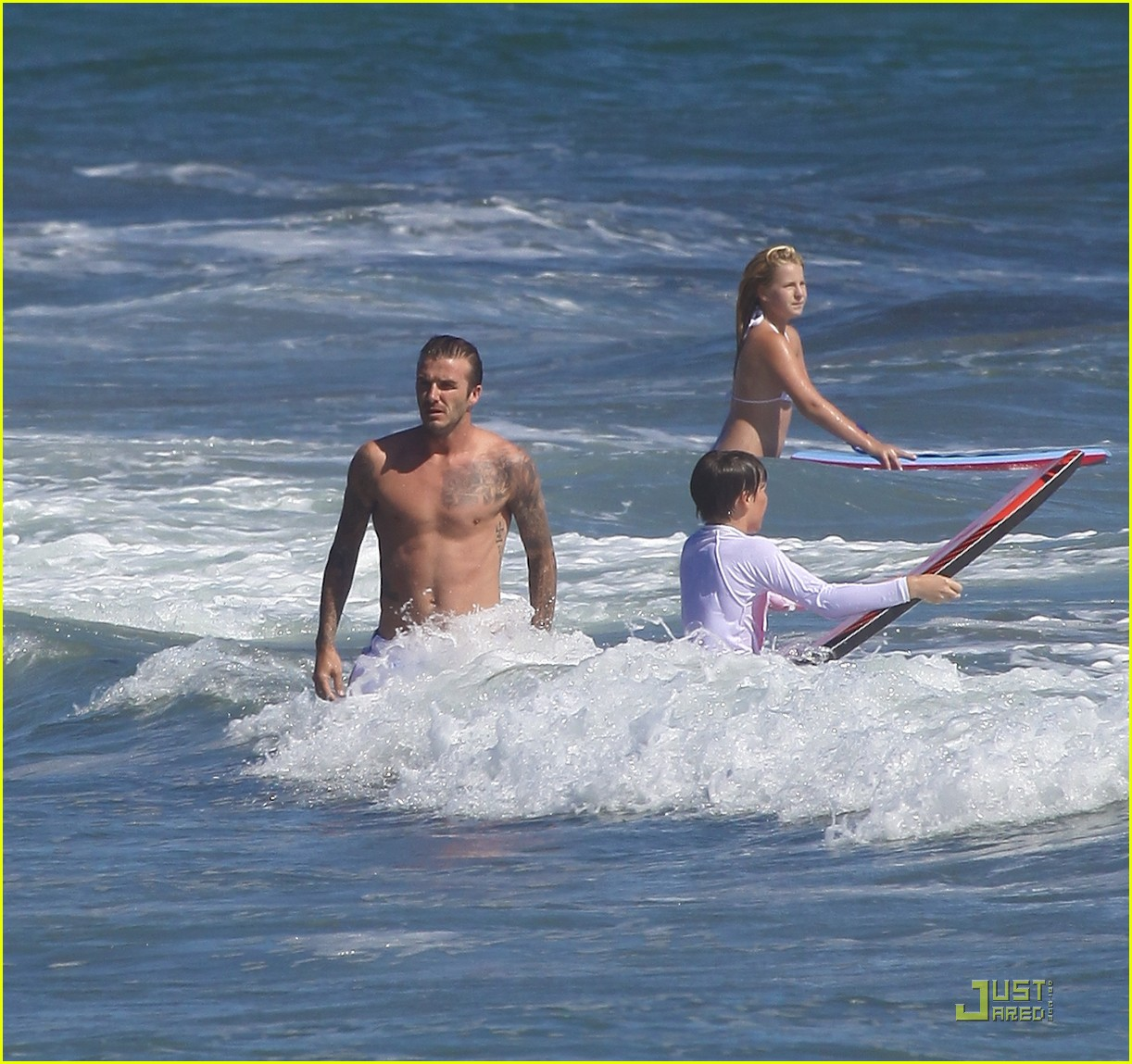 david beckham shirtless surfing  182561571