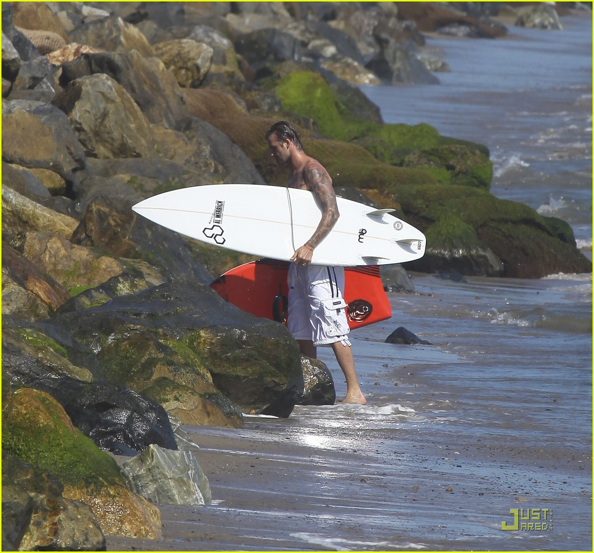 david beckham shirtless surfing  24