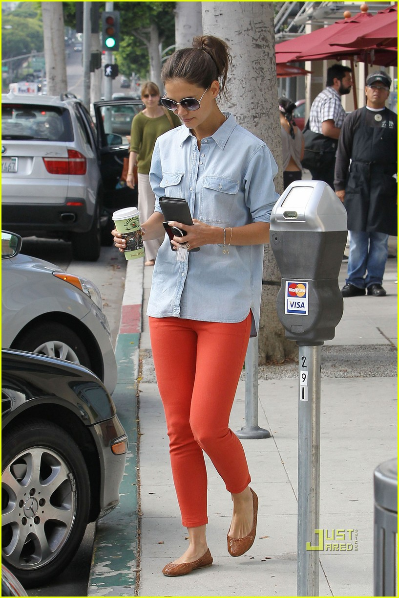 katie holmes orange pants 112572420