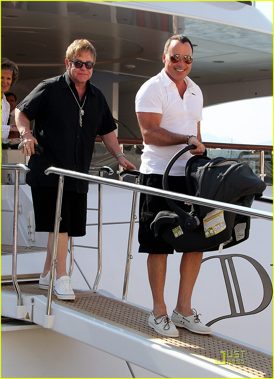 elton john david furnish st tropez with baby zachary 11