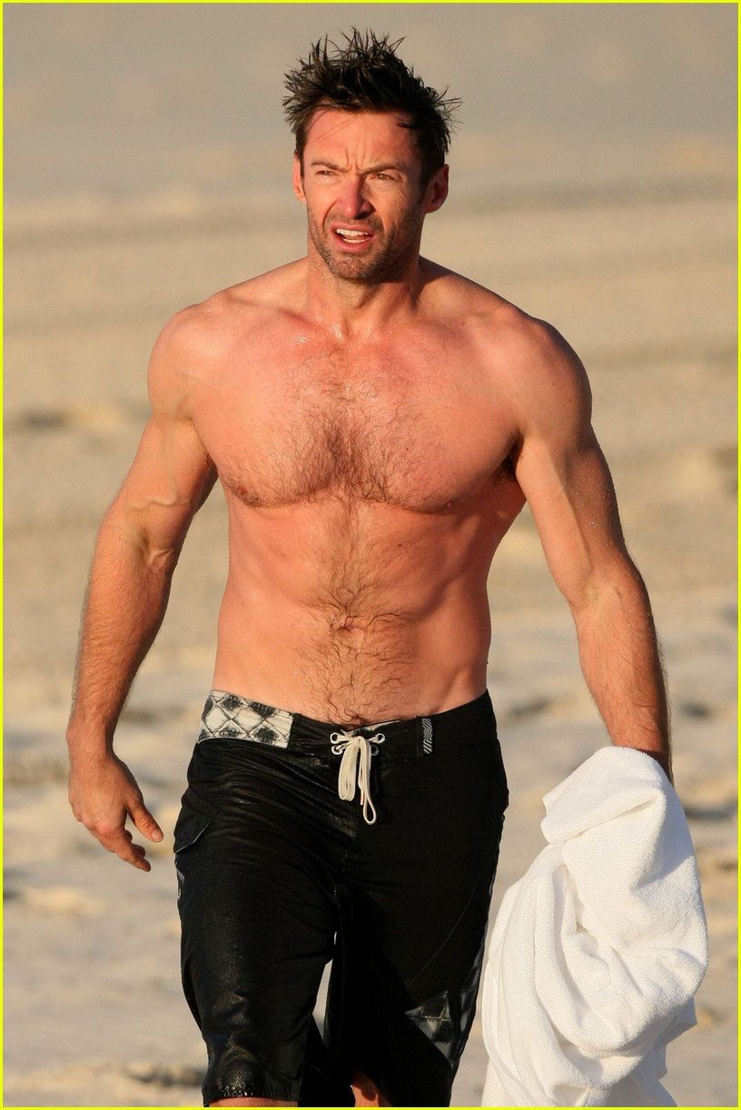 hugh jackman shirtless morning dip 06
