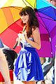 zooey deschanel rainbow umbrella 06