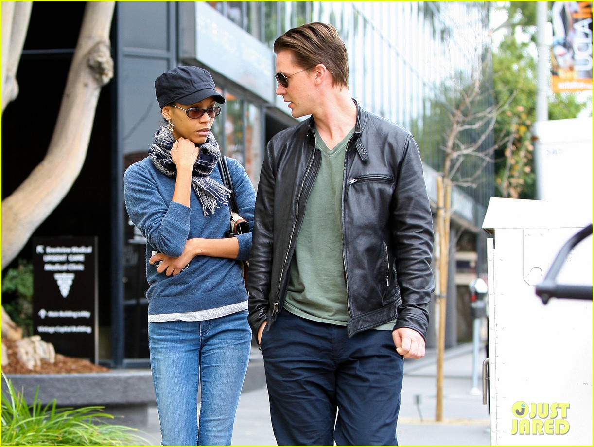 zoe saldana keith britton leave office building 01