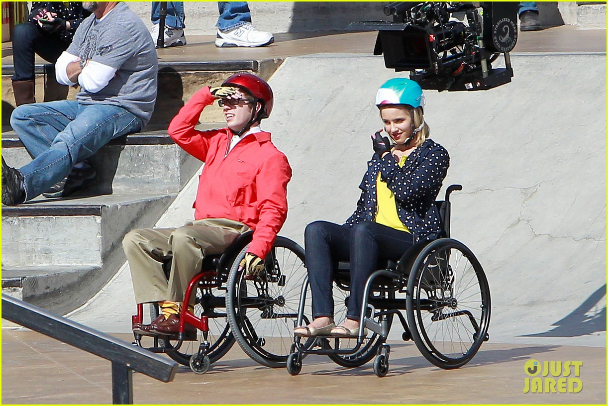 dianna agron kevin mchale wheelchairs glee 052631627