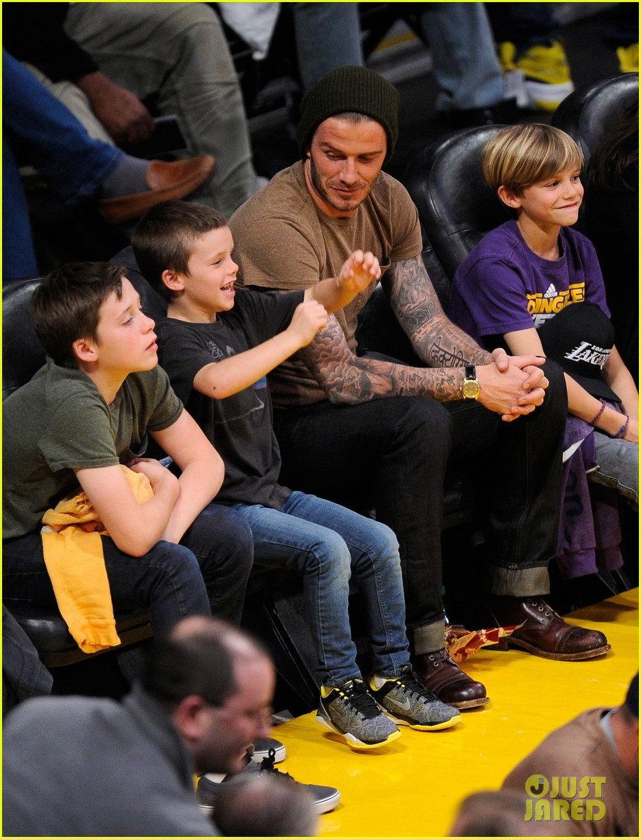 david beckham lakers game with the boys 10