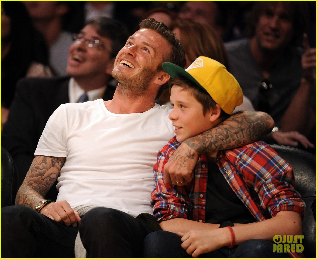 david beckham lakers game with brooklyn 052636183