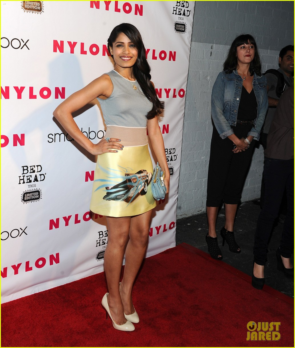 freida pinto flaming car nylon party 01