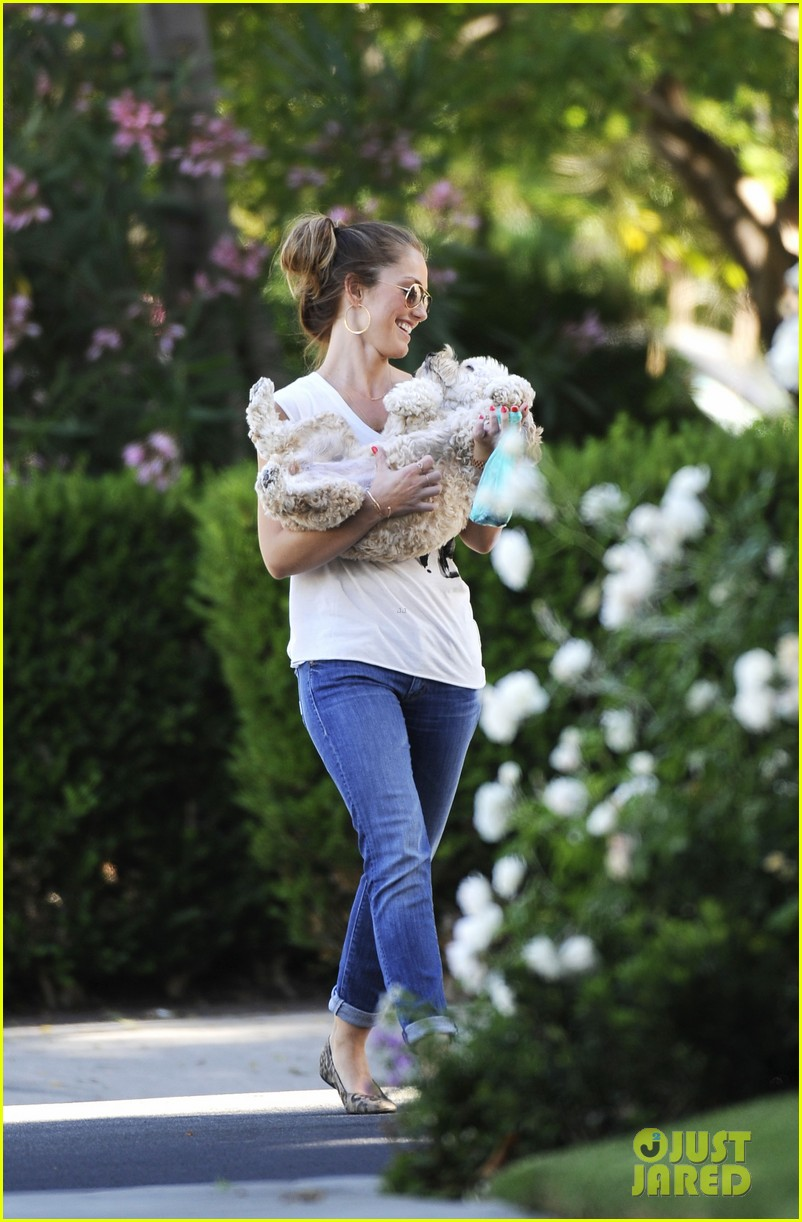 minka kelly walks dog 03
