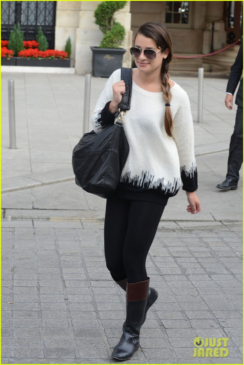 lea michele cory monteith leaving paris 07