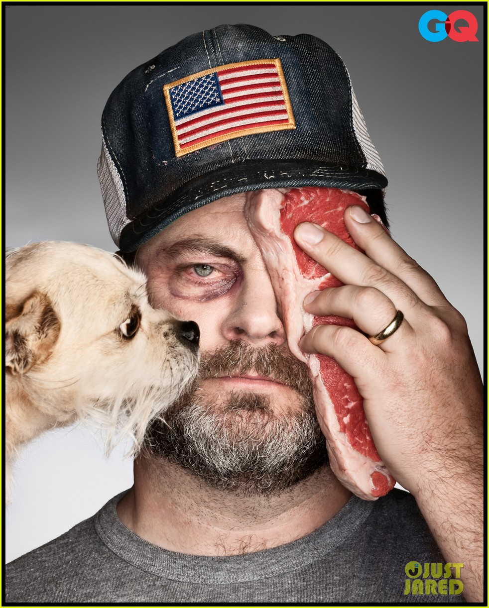 parks and recreation nick offerman shirtless for gq 012683023