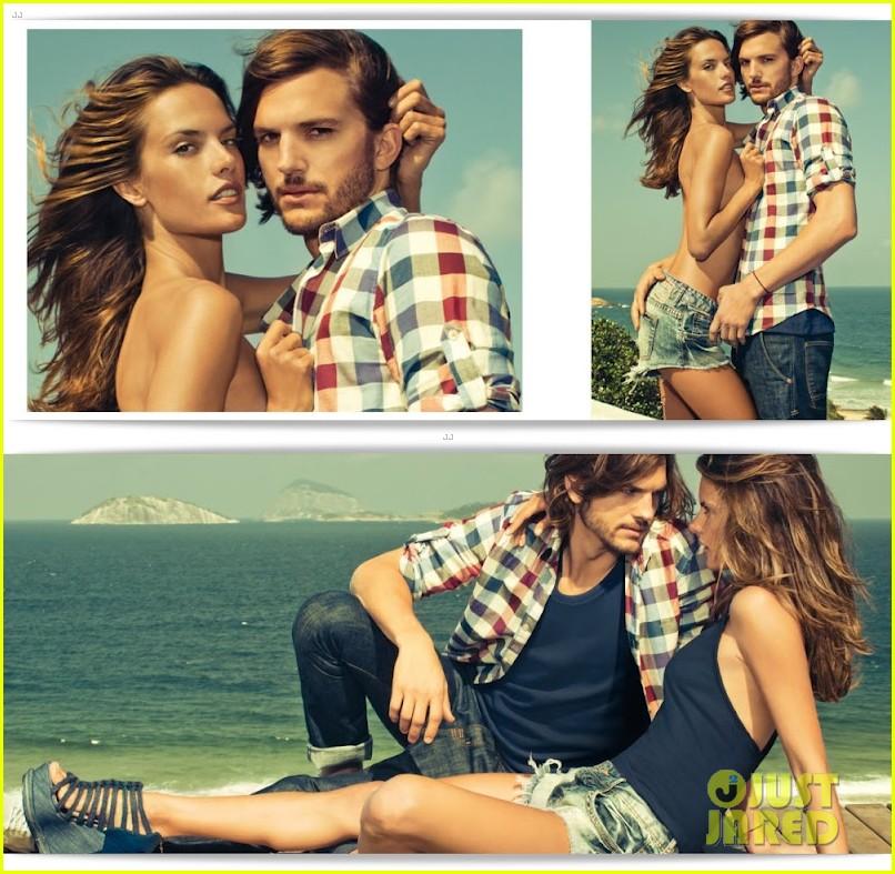 ashton kutcher topless alessandra ambrosio colcci campaign 01