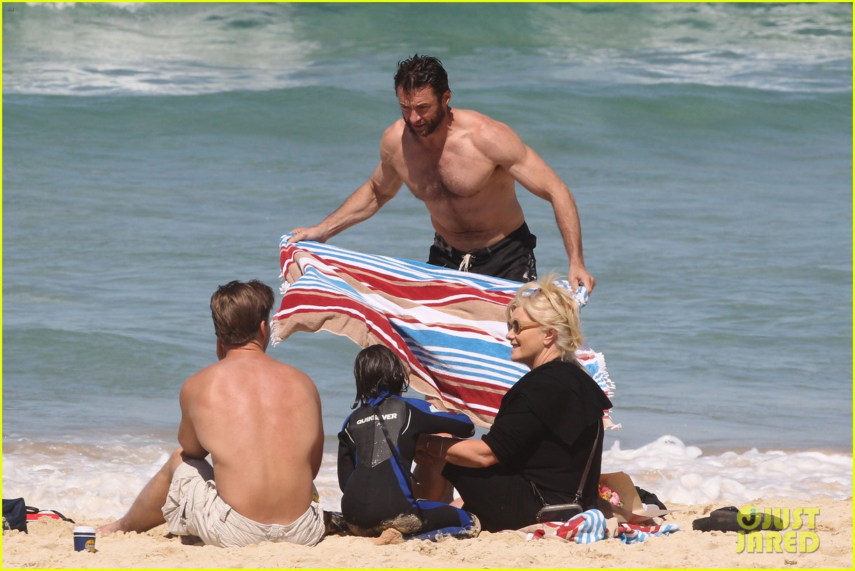 hugh jackman shirtless at bondi beach 01