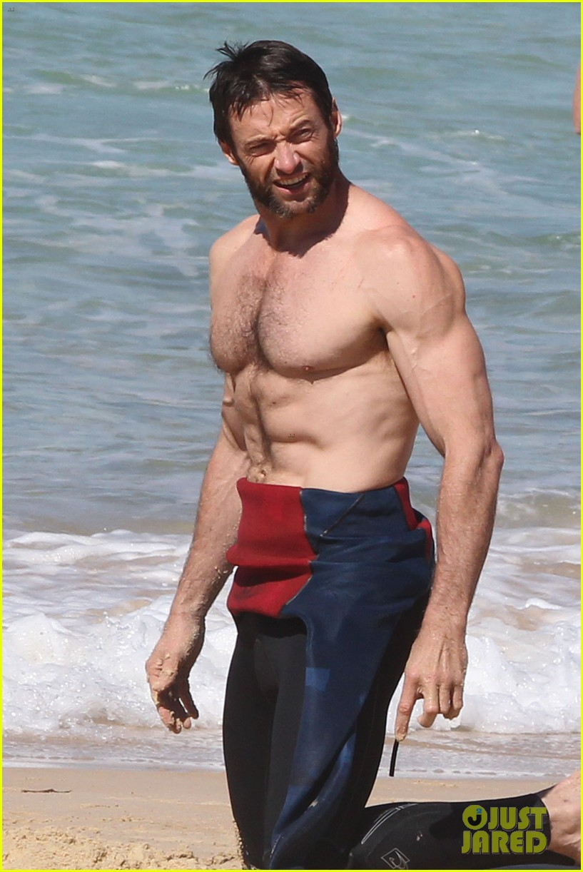 hugh jackman shirtless at bondi beach 04