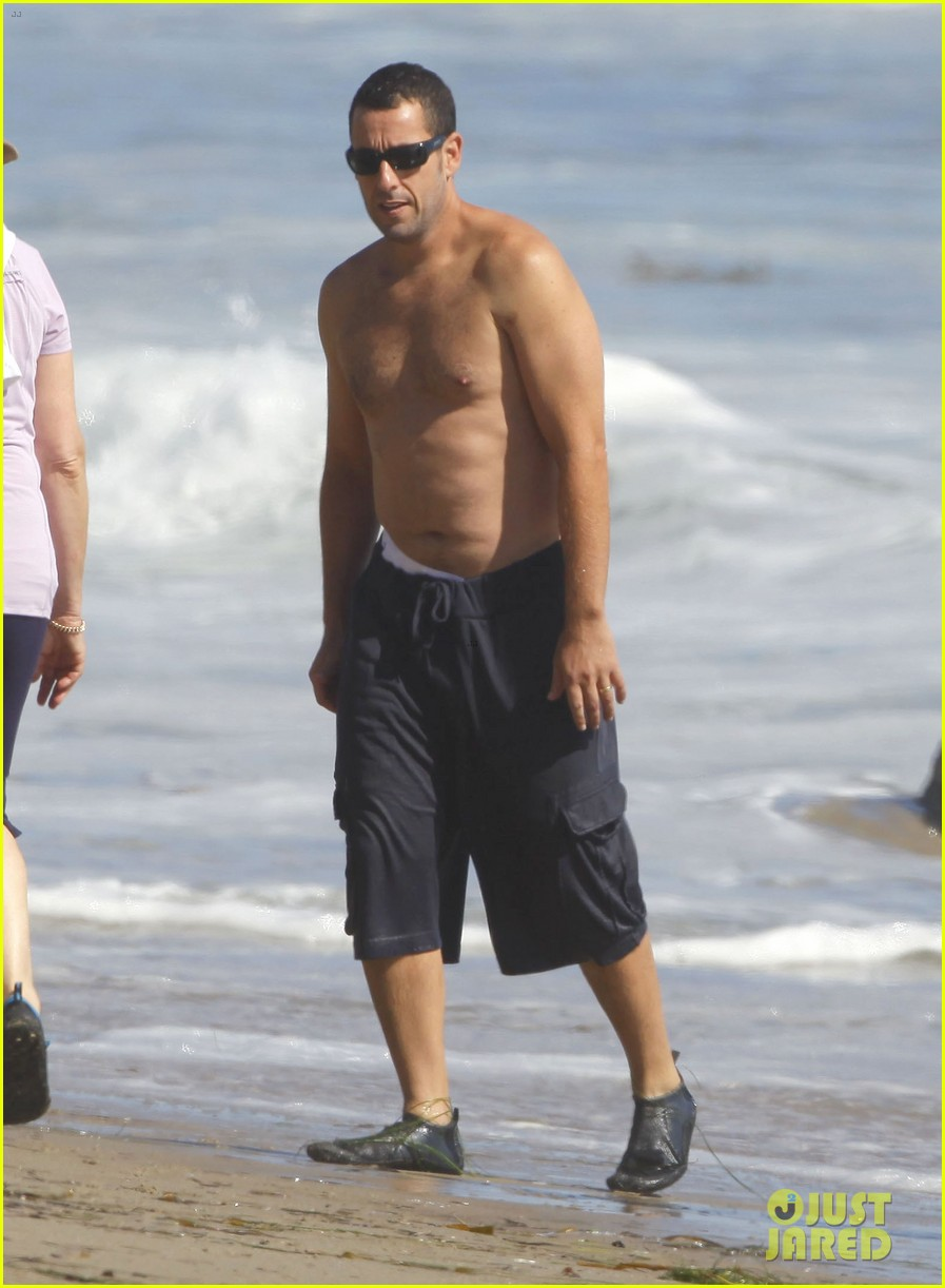Full Sized Photo of adam sandler shirtless beach time with ...
