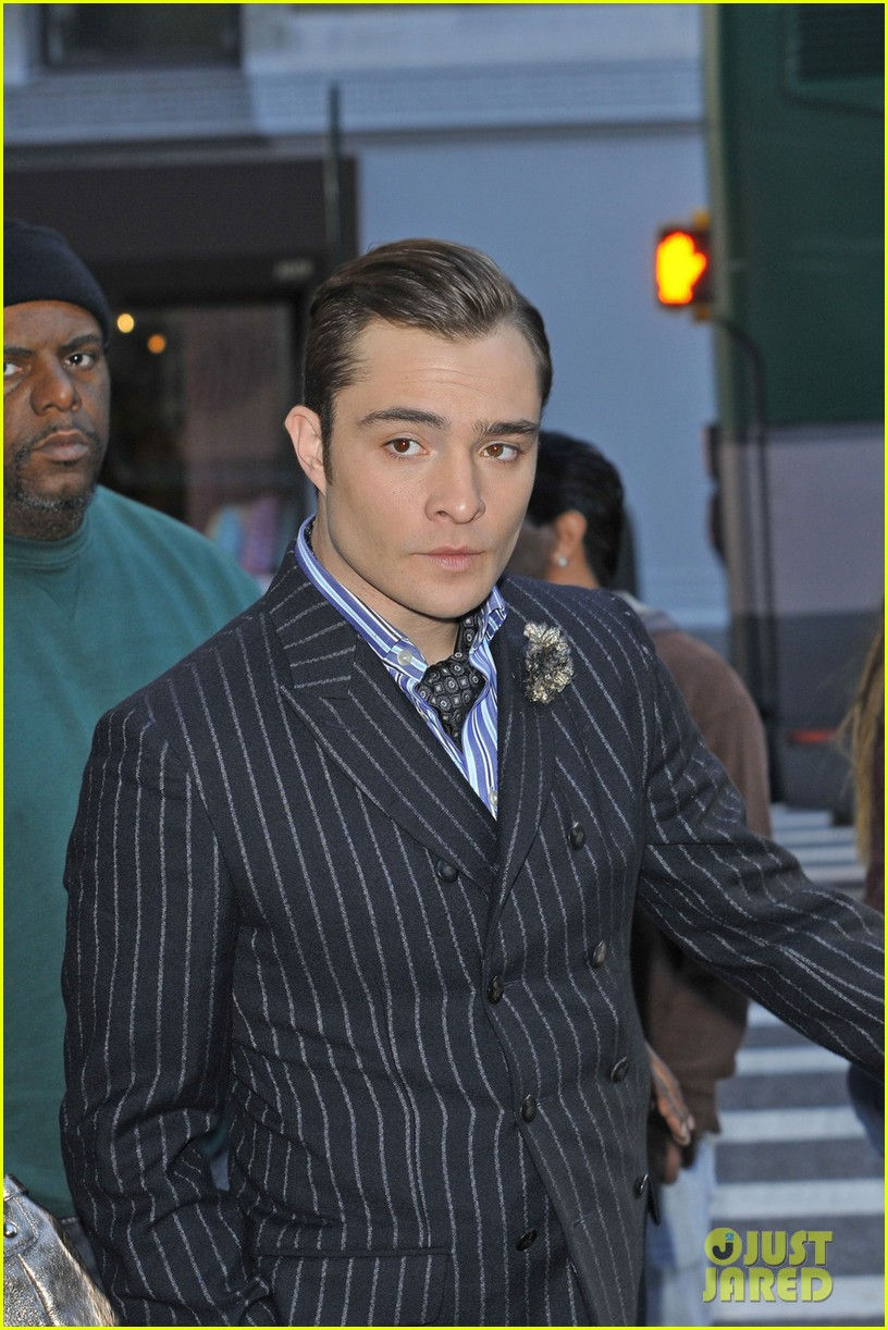 leighton meester ed westwick chilly gossip girl set 07