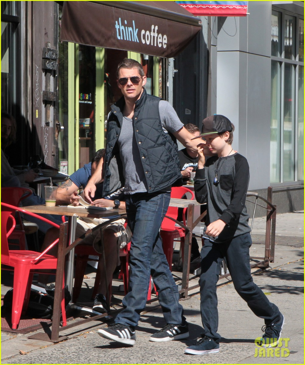james marsden east village coffee run with son jack 032731790