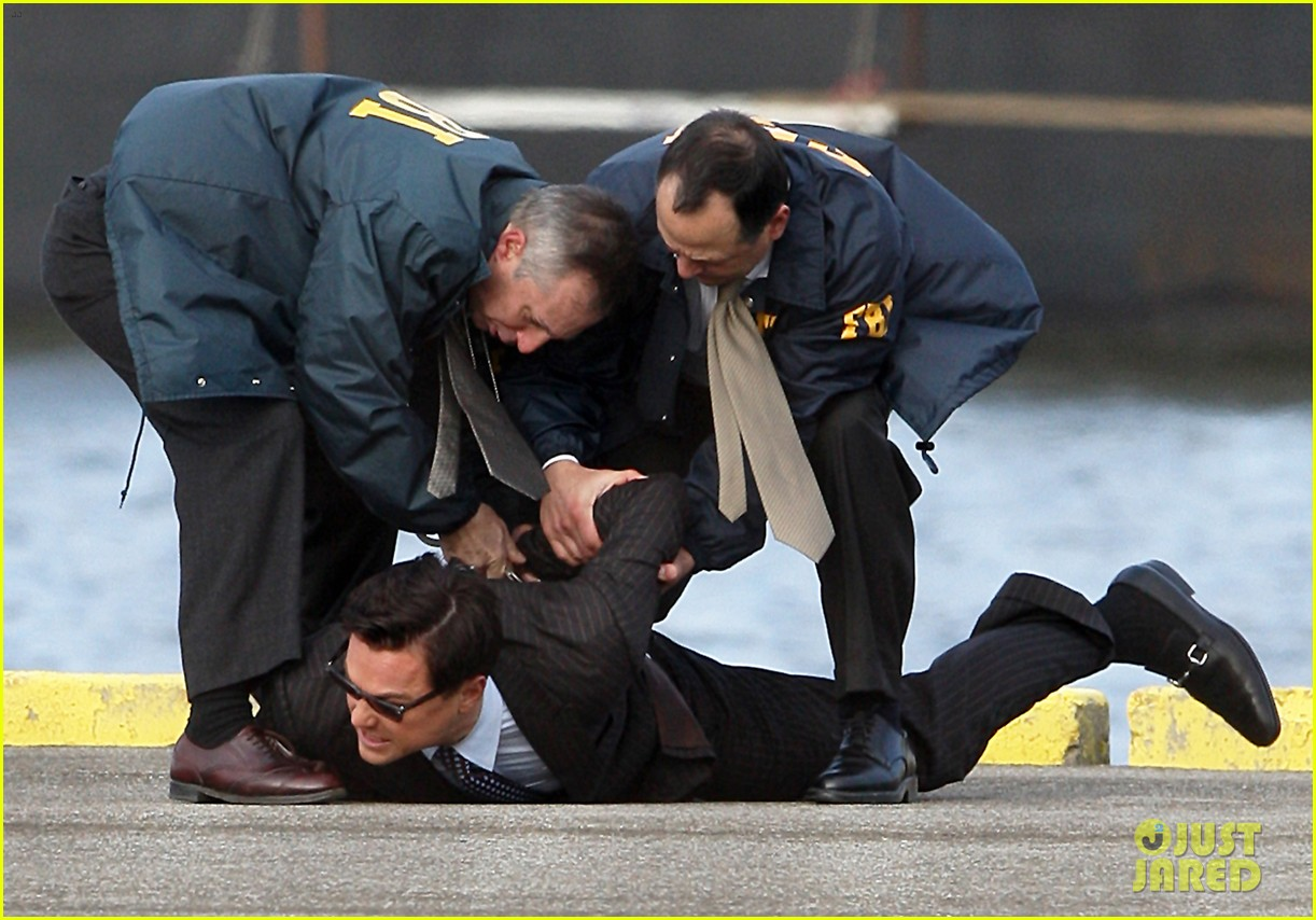 leonardo dicaprio arrested on wolf of wall street set 14