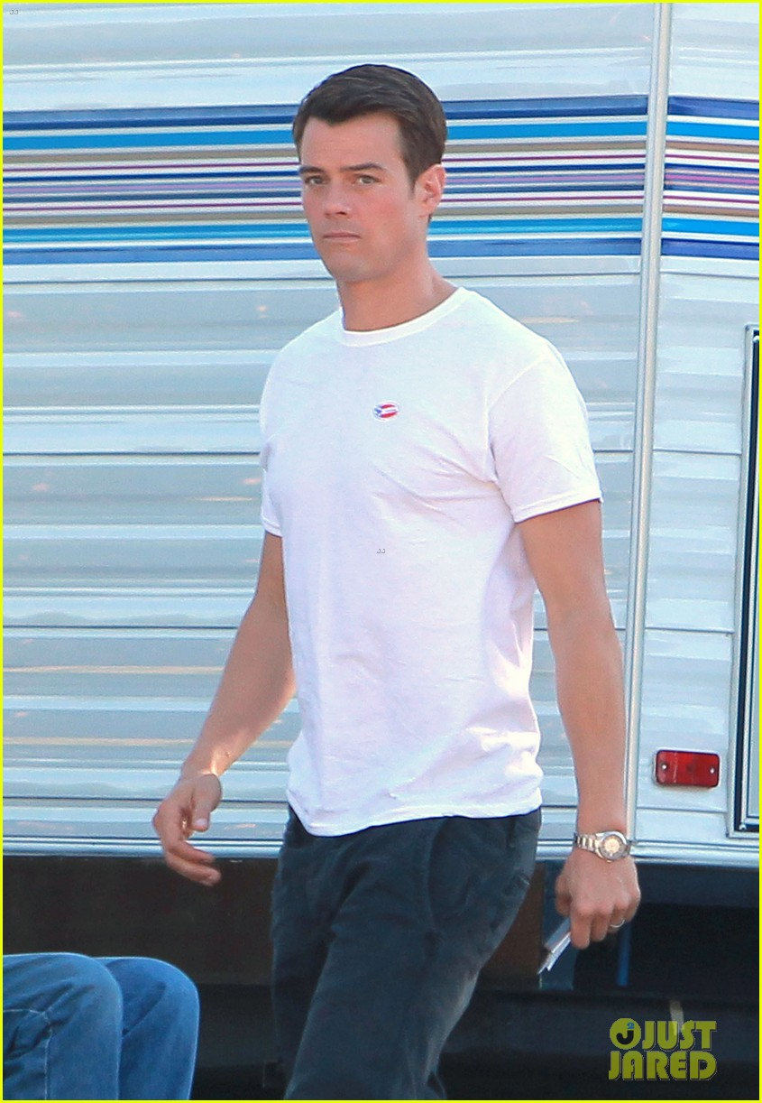 josh duhamel wears i voted sticker on youre not you set 04