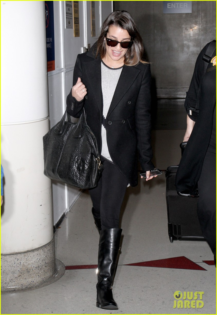 lea michele leaves nyc chris colfer ice skates for glee 02
