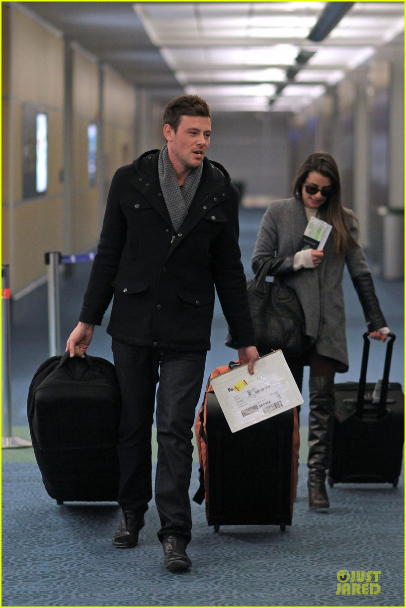 lea michele cory monteith vancouver departing couple 01