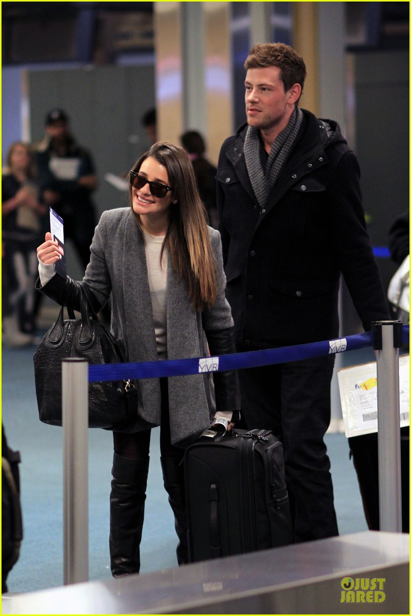 lea michele cory monteith vancouver departing couple 04