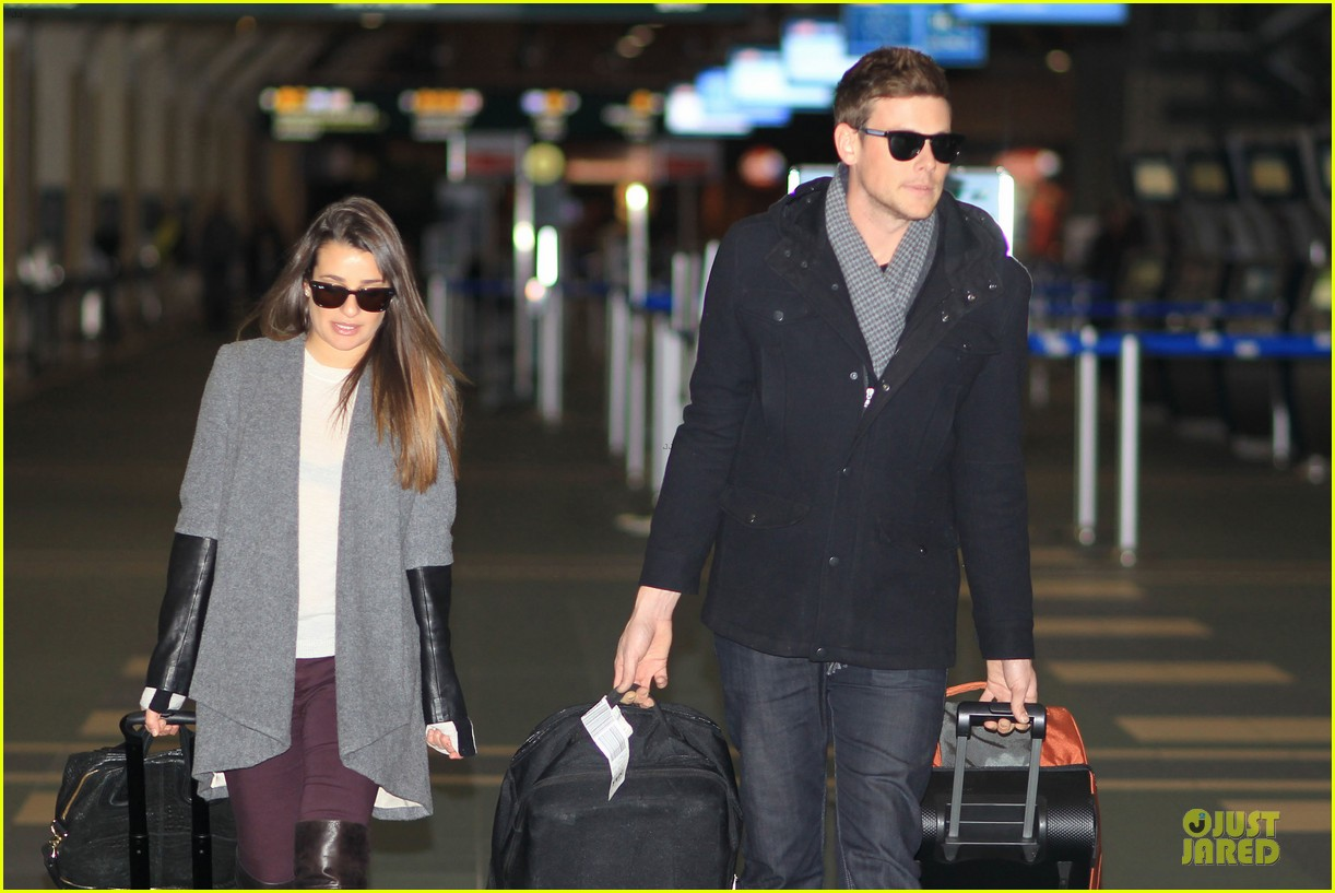 lea michele cory monteith vancouver departing couple 08