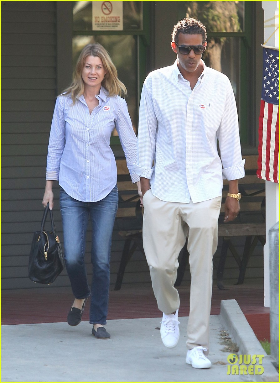 ellen pompeo election day voting with chris ivery 01