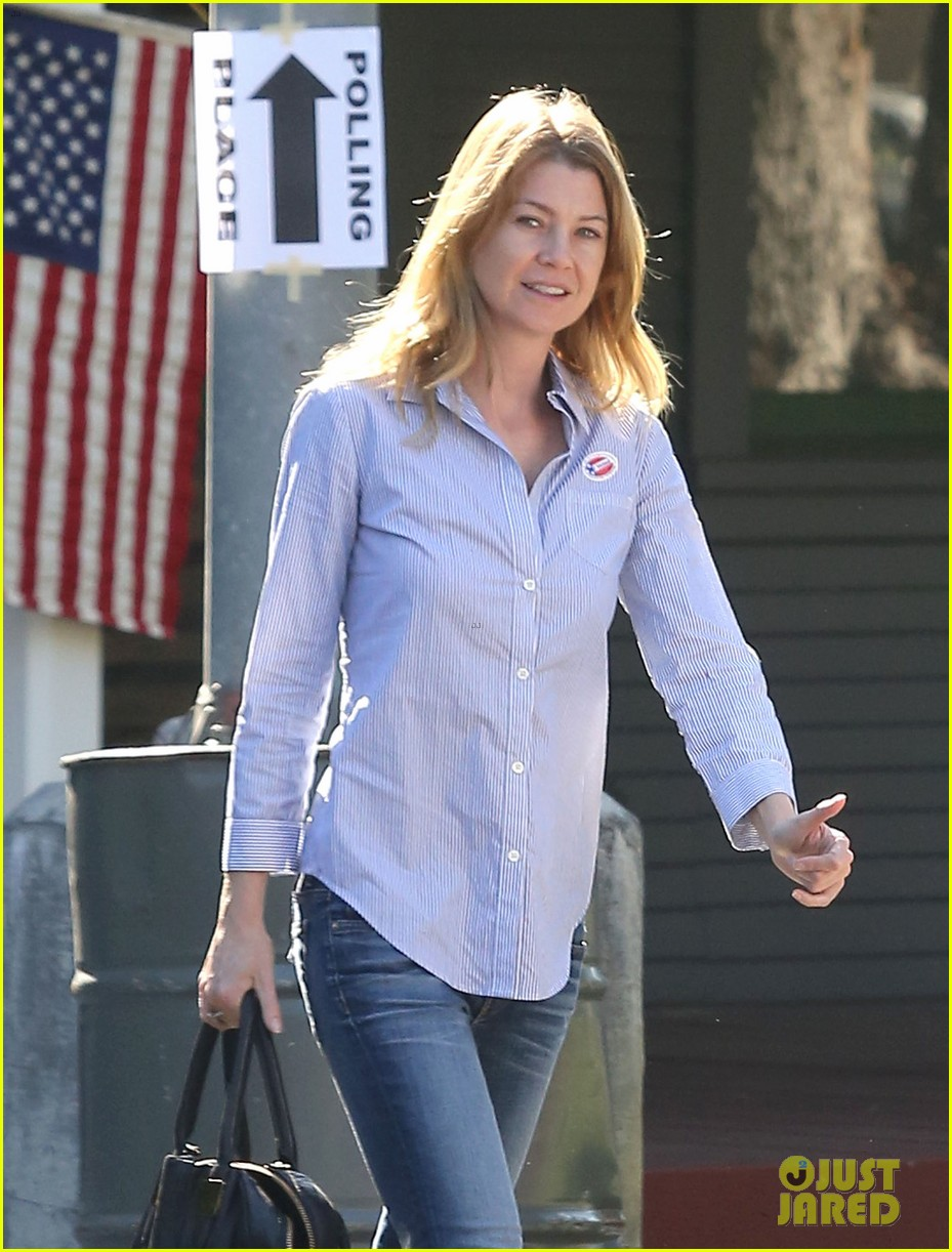 ellen pompeo election day voting with chris ivery 022752143