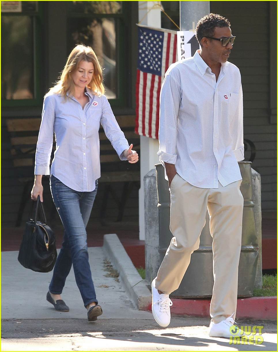 ellen pompeo election day voting with chris ivery 03