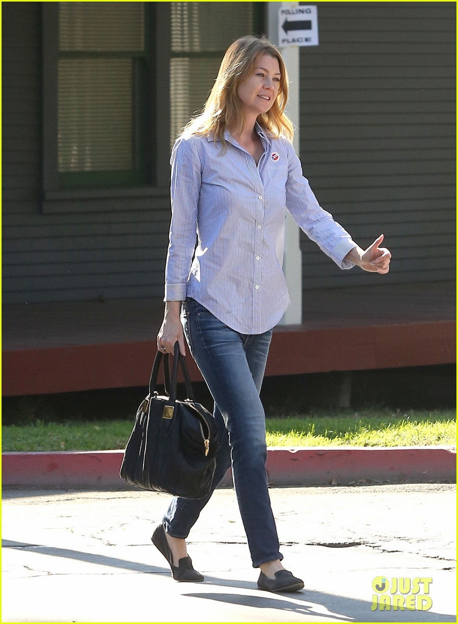 ellen pompeo election day voting with chris ivery 05