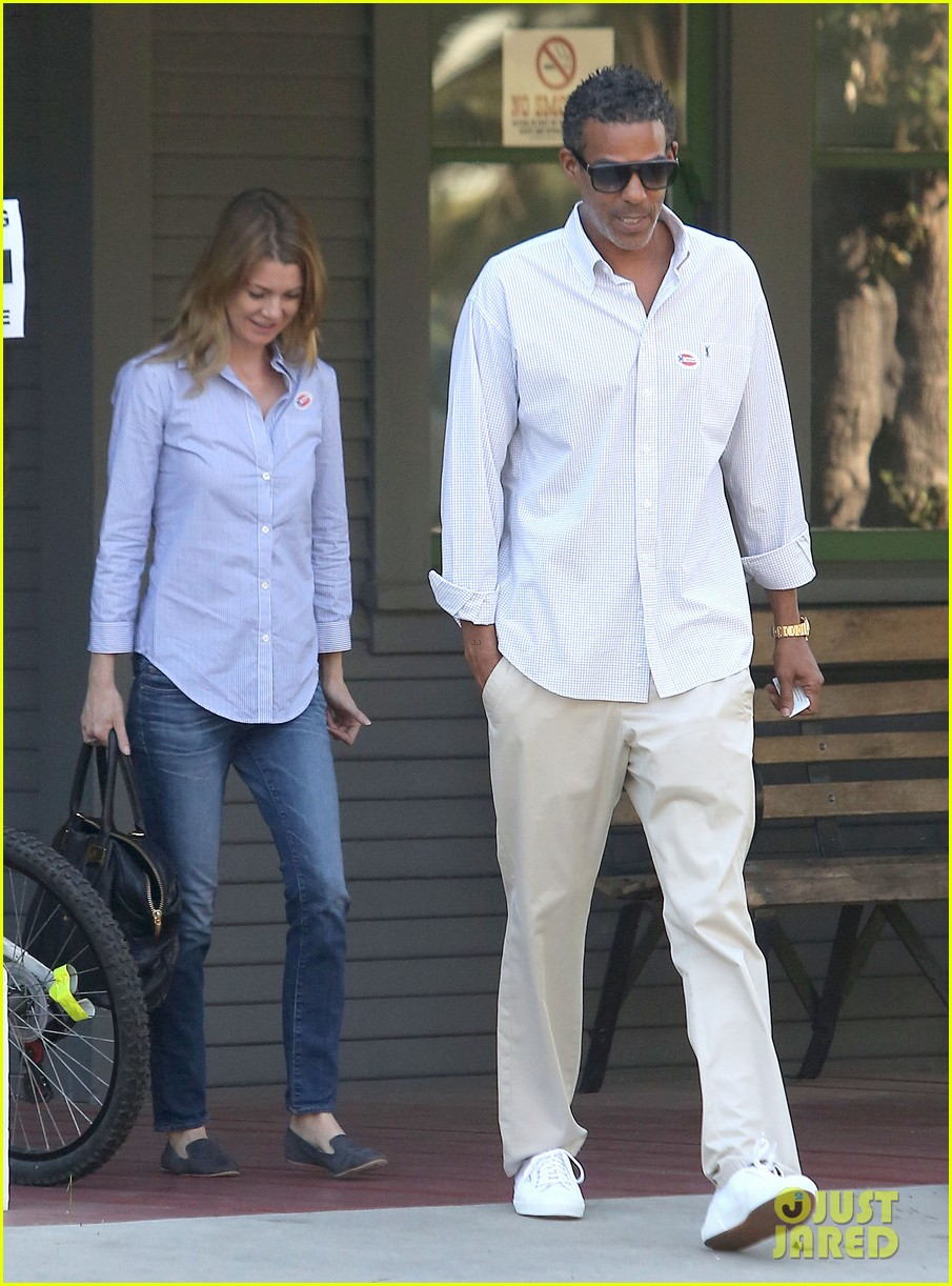 ellen pompeo election day voting with chris ivery 07