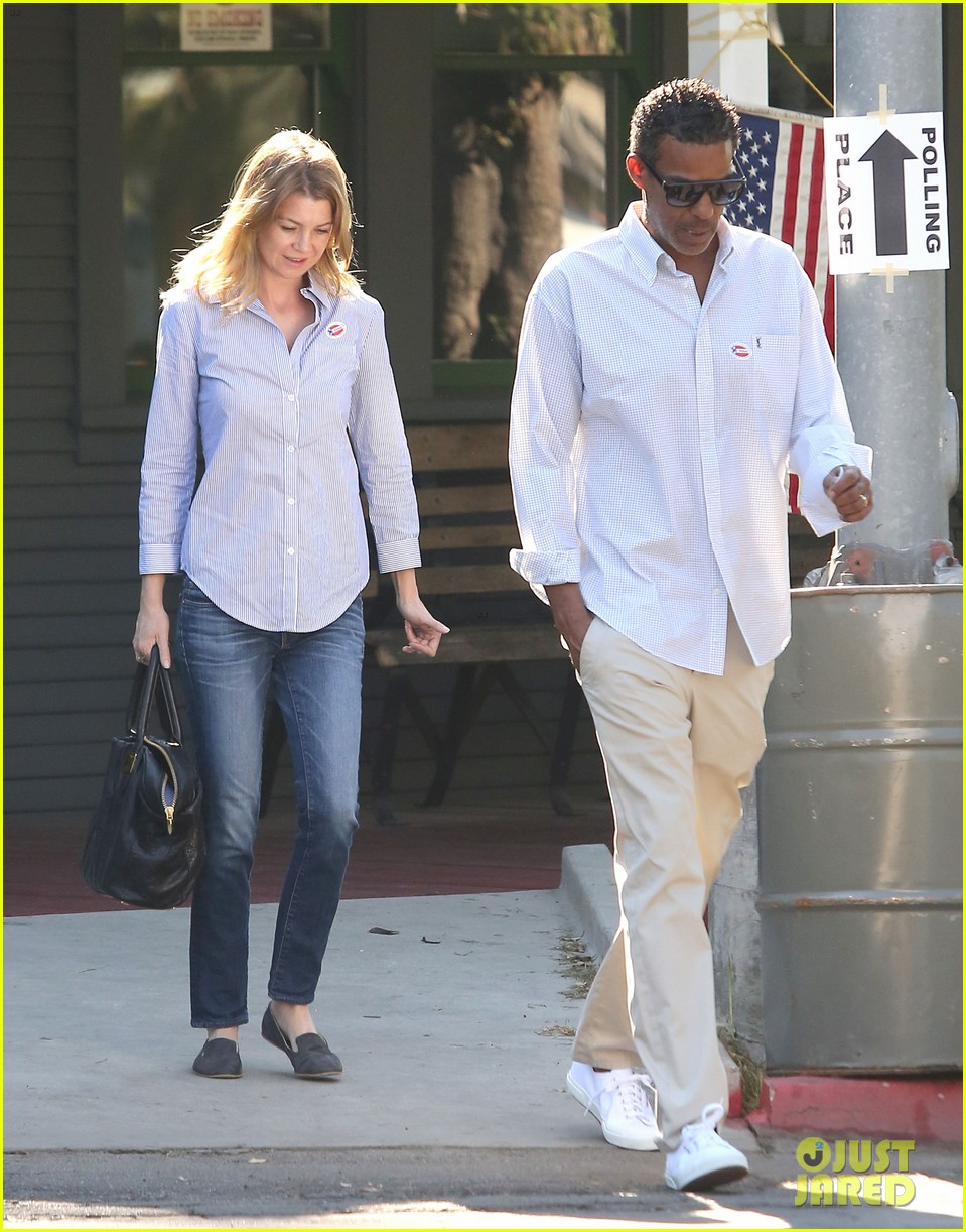 ellen pompeo election day voting with chris ivery 08