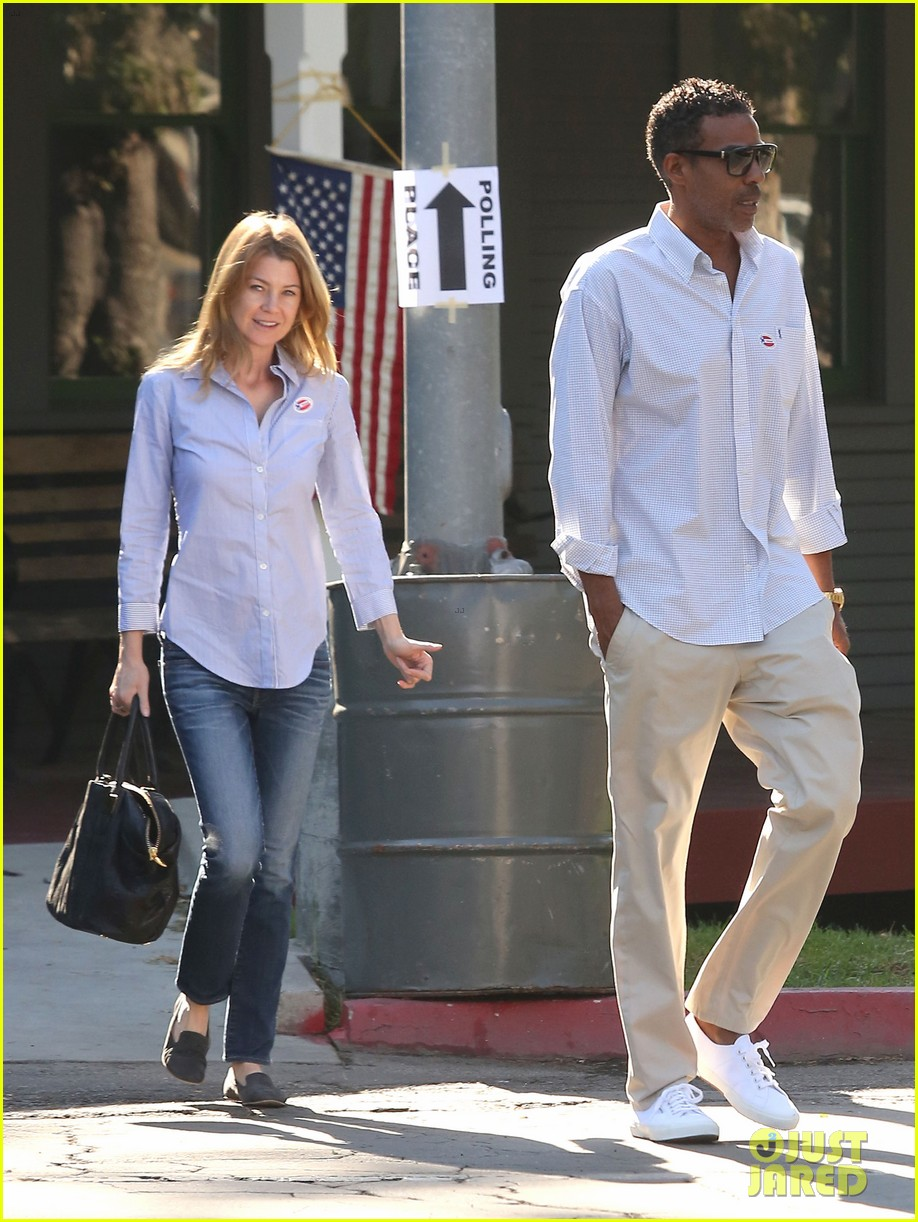 ellen pompeo election day voting with chris ivery 09