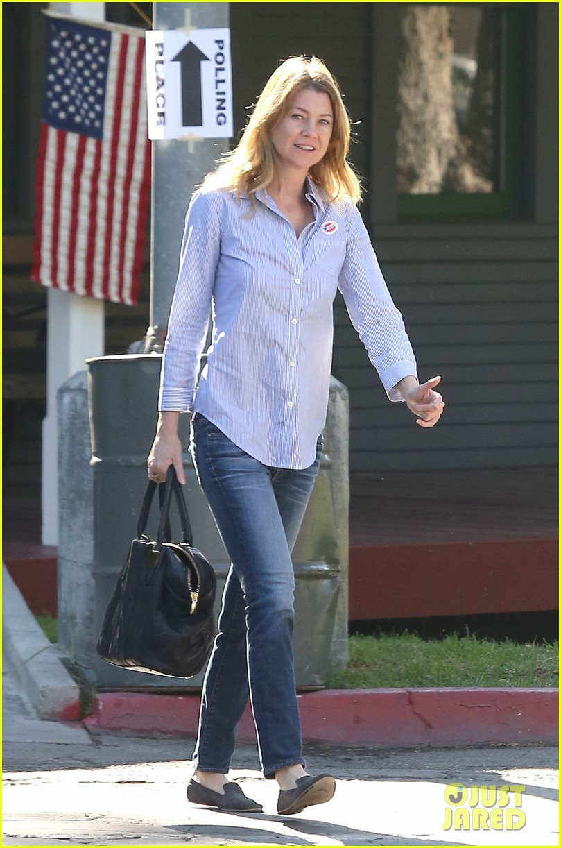 ellen pompeo election day voting with chris ivery 10