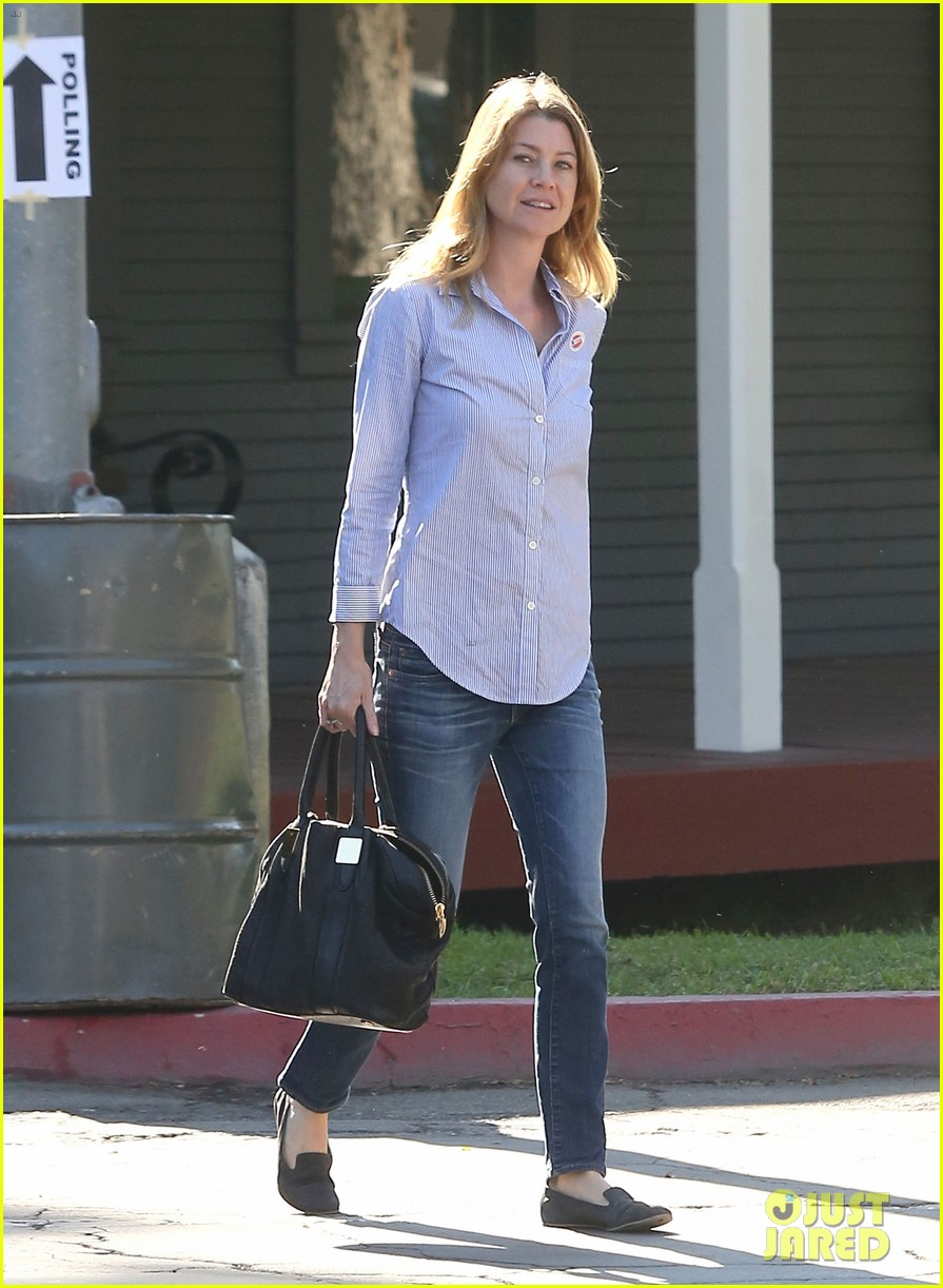 ellen pompeo election day voting with chris ivery 11