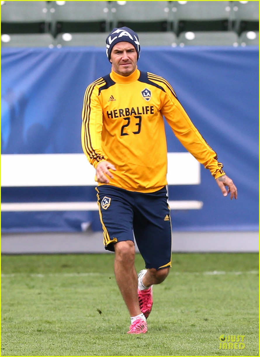 david beckham final galaxy game practice 13